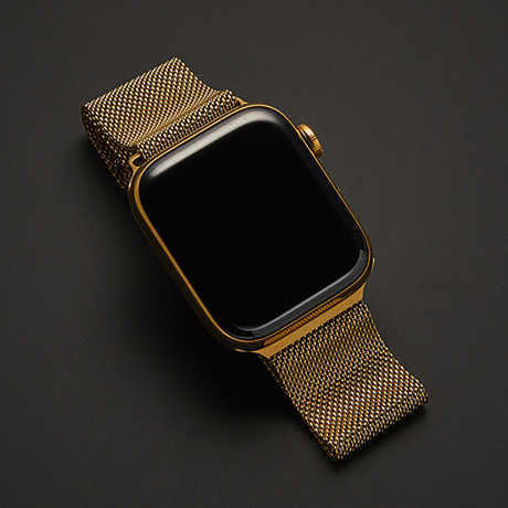 24K Gold Apple Watch Series 6 // With Gold Milanese Loop Band // 44mm