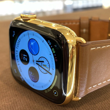 24K Gold Plated Custom Apple Watch Series 6 // Brown Leather Band + Gold Plated Buckle // 44mm