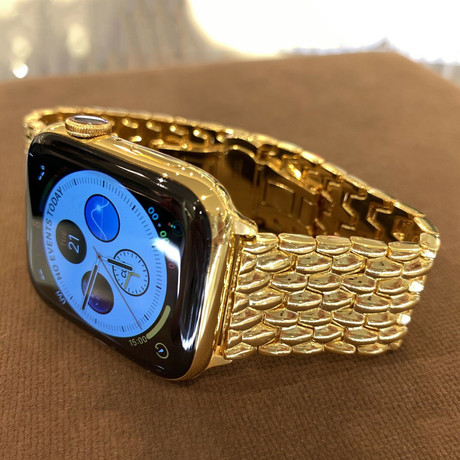 24K Gold Plated Apple Watch Series 6 // 24K Gold Plated Link Band + Butterfly Buckle // 44mm