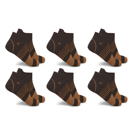 Copper-Infused V-Striped Ankle Compression Socks // 6-Pairs (Small / Medium)