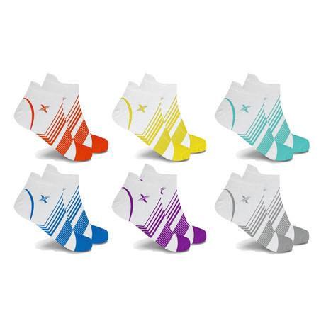 White Edition Ultra V-Striped Ankle Compression Socks // 6-Pairs (Small / Medium)
