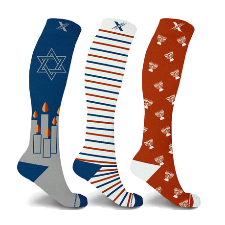 Hanukkah Celebration Knee High Compression Socks // 3-Pairs (Small / Medium)