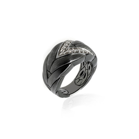 John Hardy Sterling Silver Diamond Chain Ring // Ring Size: 6 // Store Display
