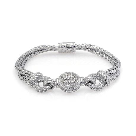 John Hardy Sterling Silver Diamond Bracelet // Store Display