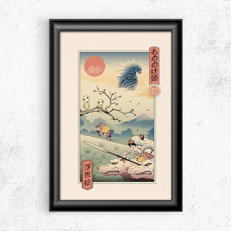 """Wolf Princess Ukiyo-e (11""""W x 17""""H)"""