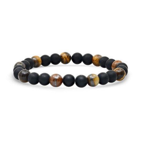 Tiger Eye + Lava Beaded Bracelet // Black + Brown