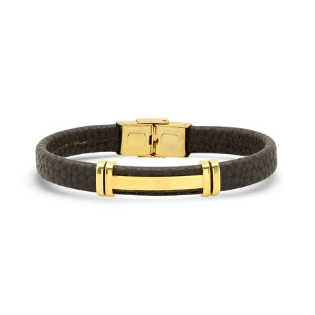 Leather + Stainless Steel Bracelet // Brown + Yellow
