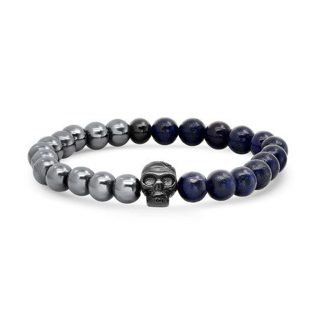 Hematite + Lapis Beaded Bracelet // Blue + Gray + Black