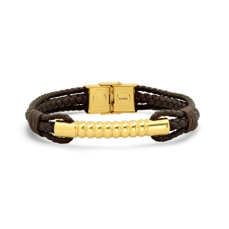 Leather + Stainless Steel Accent Bracelet (Brown + Yellow)