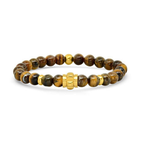 Tiger Eye + Stainless Steel Studded Bracelet // Yellow + Brown