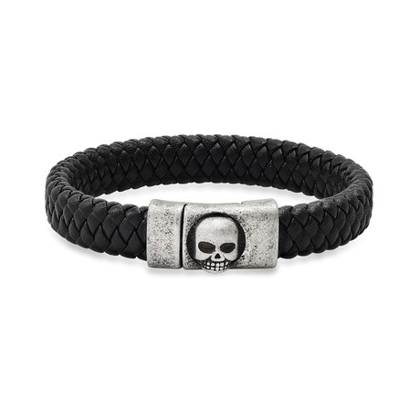 Leather + Stainless Steel Oxidized Skull Bracelet // Black