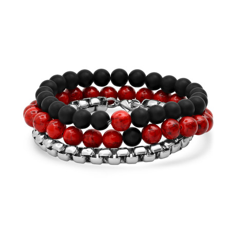 Lava + Round Box Link Bracelet // Set of 3 (Red)