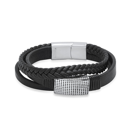 Layered Leather + Stainless Steel Accent Bracelet // Metallic + Black