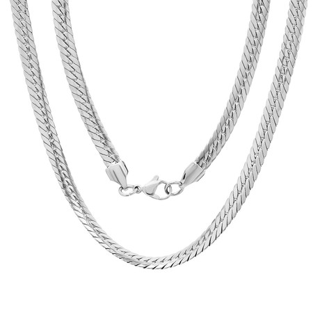 Flat Cuban Chain Link Necklace // Metallic