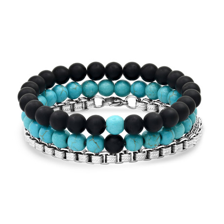 Anthony Jacobs // Lava + Round Box Link Bracelet Set // Black + Turquoise + Metallic