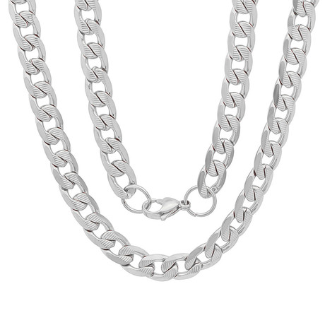 Accented Cuban Link Chain Necklace (White)