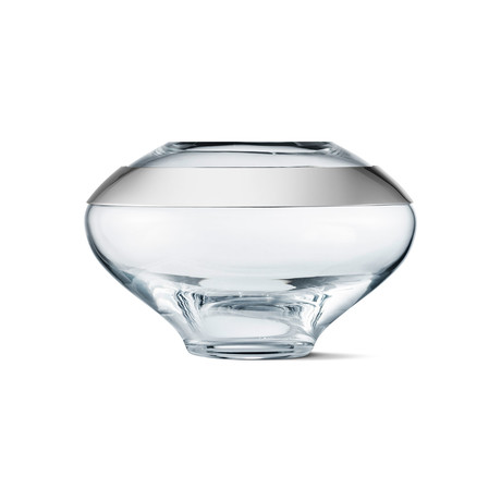 Duo Round Vase // Stainless Steel + Glass (Small)