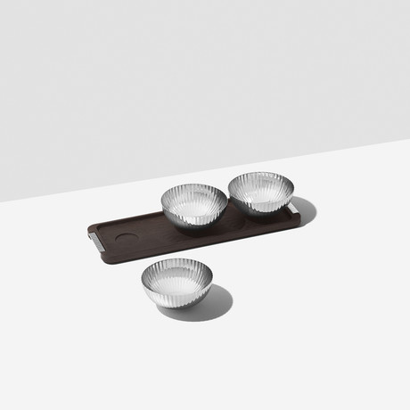 Bernadotte // Triple Bowl Set In Stand // Wood + Stainless Steel