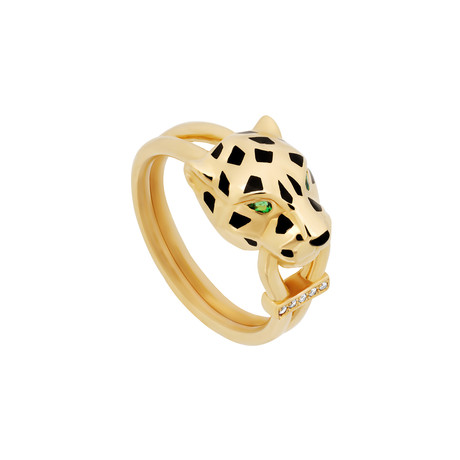 Cartier 18k Yellow Gold Panthere Onyx Garnet Eyes + Diamond Ring // Ring Size: 8 // Pre-Owned