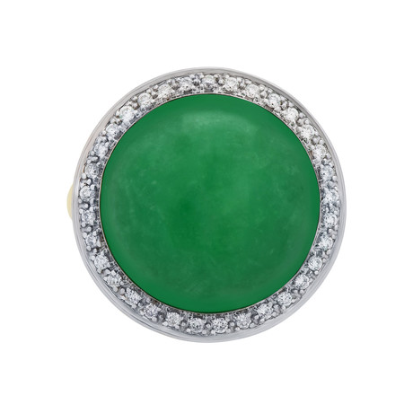 Mimi Milano 18k Two-Tone Gold Diamond + Green Agate Ring // Ring Size: 6.75 // Store Display