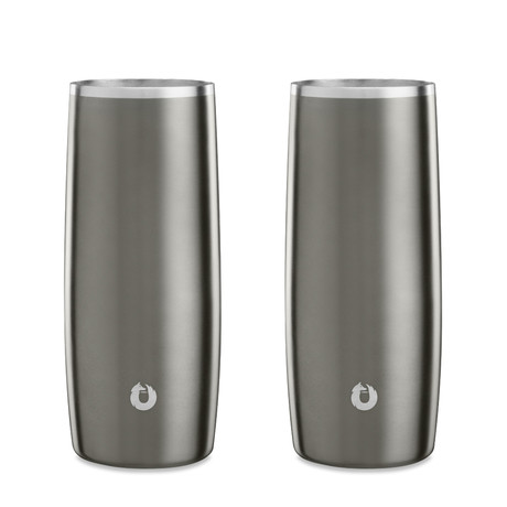 Insulated Stainless Steel Cocktail + Beer Glass // 14.5 oz // Set of 2 (Coral)