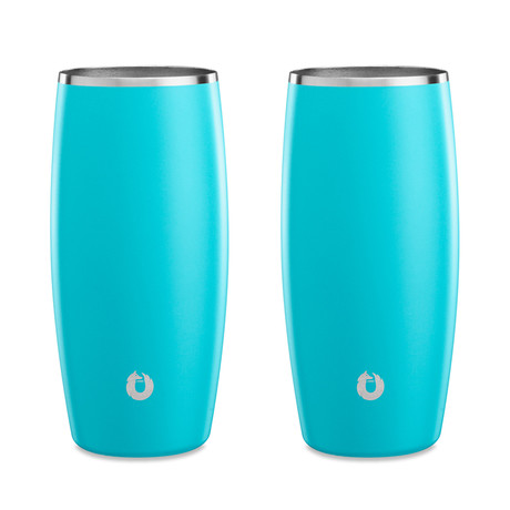 Insulated Stainless Steel Beer Glass // 16.9 oz // Set of 2 (Teal)