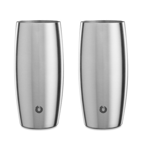 Insulated Stainless Steel Beer Glass // 18 oz // Set of 2 (Steel)