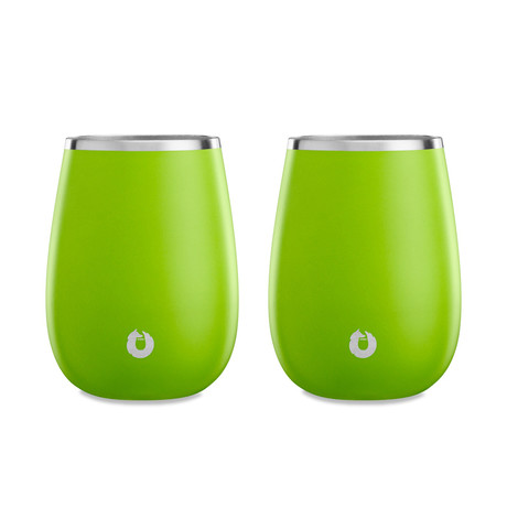 Insulated Stainless Steel Wine Glass // Set of 2 (Lime)