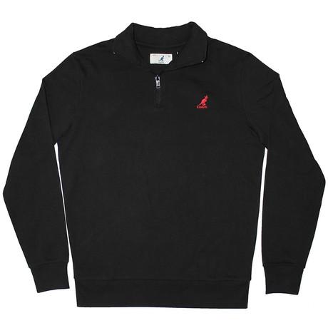 1/4 Zip Fleece Pullover // Black (S)