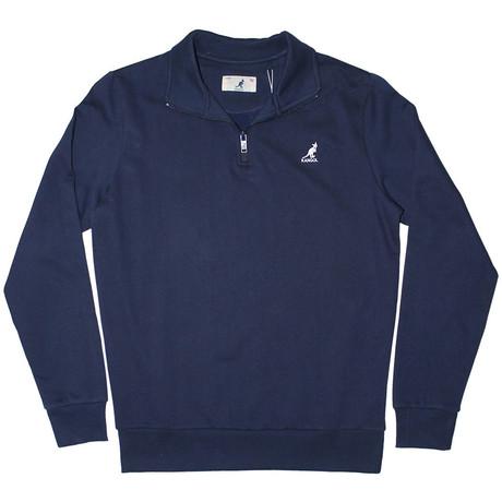 1/4 Zip Fleece Pullover // Navy (S)