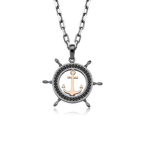 """Black Zircon Anchor + Rudder Necklace // Silver + Rose (22"""")"""