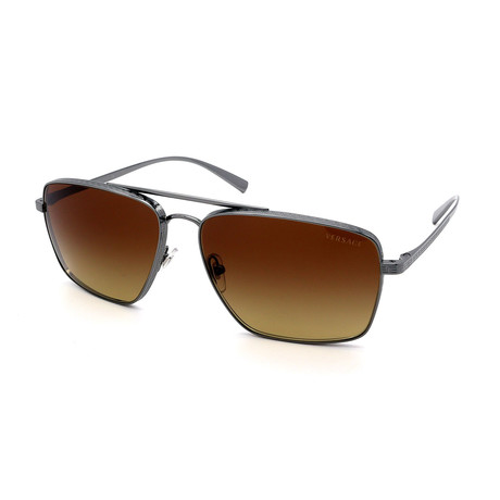 Versace // Men's VE2216-100113 Sunglasses // Gunmetal + Brown Gradient