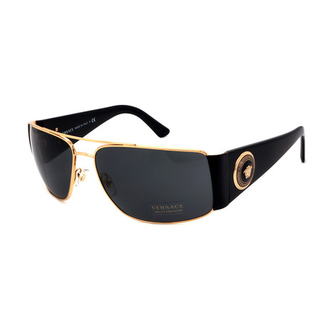 Versace // Men's VE2163-100287 Medusa Logo Sunglasses // Gold + Black + Gray