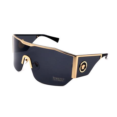 Versace // Men's VE2220-100287 Oversized Shield Fashion Sunglasses // Gold + Black + Gray