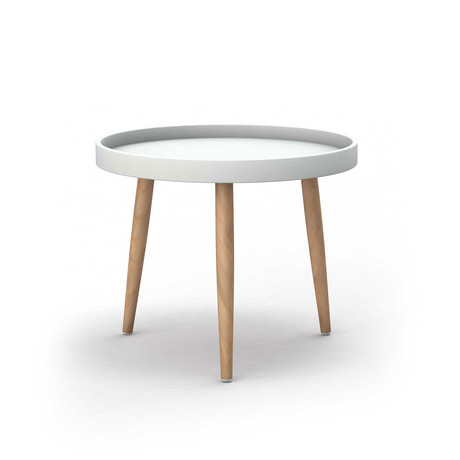 Kurv Chat Table (White + Natural)