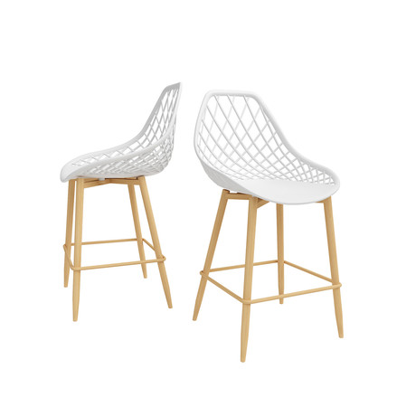 Kurv Counter Chair // Set of 2 (White + Natural)