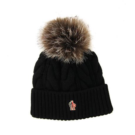 Moncler // Women's Fur Pom-Pom Beanie // Black