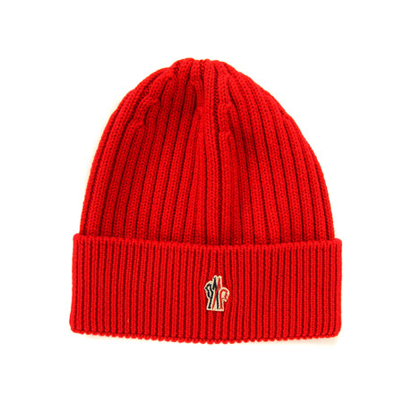 Moncler // Men's Logo Patched Beanie // Red