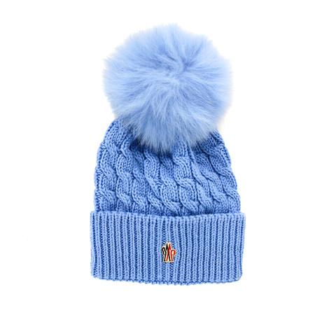 Moncler // Women's Fur Pom-Pom Beanie // Blue