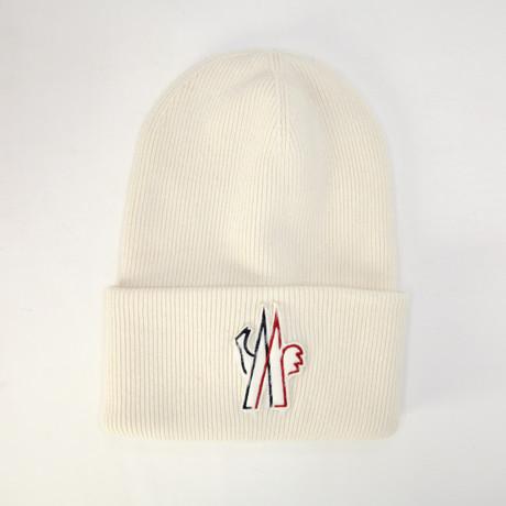 Moncler // Men's Logo Patch Beanie // White