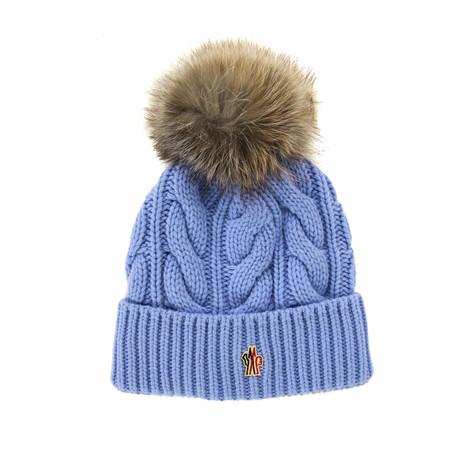 Moncler // Women's Fur Pom-Pom Beanie // Blue + Brown