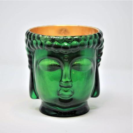 Cleopatra // Emerald Green Buddha Candle // 24K Gold