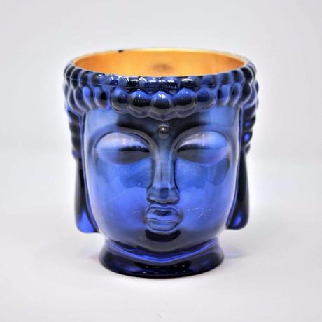 Caesonia // Sapphire Blue Buddha Candle // 24K Gold