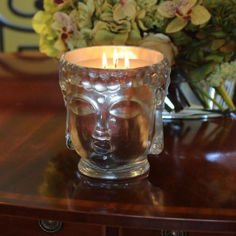 Supernova // Glass Buddha Head Candle // Pure Silver