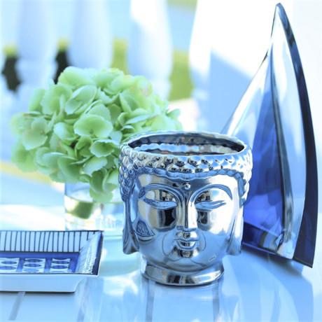 Buddha 3-Wick Scented Candle // Metallic Silver