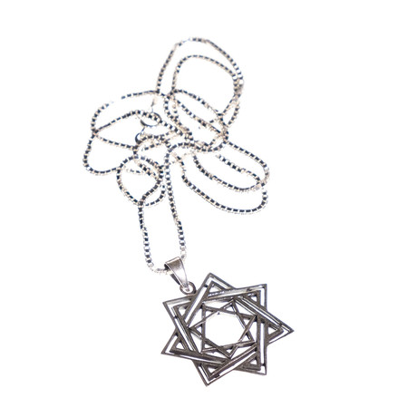 Dell Arte // Hexagram Double Six Point Star Pendant + Chain // Silver