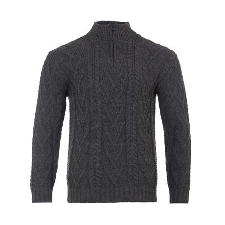 Zip Neck Fisherman Sweater // Charcoal (Small)
