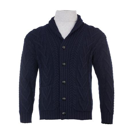 Aran Cable Shawl-Collar Cardigan // Navy (Small)