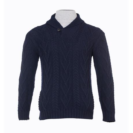 Shawl Collar Single Button Sweater // Navy (Small)