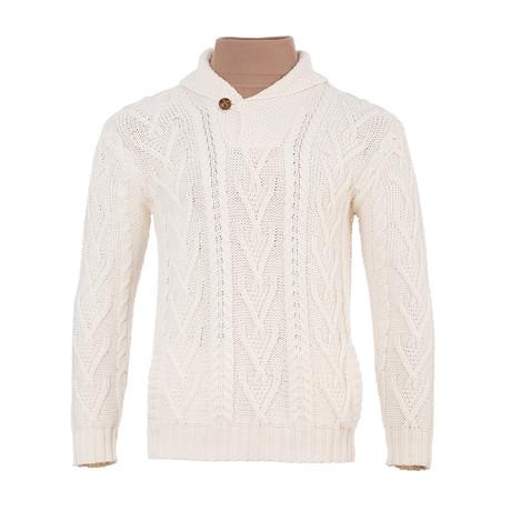 Shawl Collar Single Button Sweater // Natural (Small)